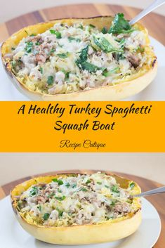 An easy, Healthy Spaghetti Squash Boat with Turkey and Spinach Turkey Spaghetti, Spaghetti Squash Boat, Healthy Appetizers, Healthy Meals, Healthy Recipes, Easy Recipes, Healthy Eating, Squash Boats, Quick Easy Meals
