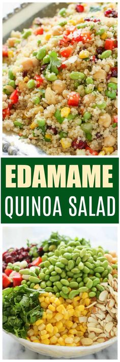 Edamame Quinoa Salad is a healthy salad filled with edamame, bell peppers, garbanzo beans, and craisins. the-girl-who-ate- Simple Couscous Recipes, Healthy Salad Recipes, Healthy Potluck, Healthy Snacks, Easy Salads To Make, Easy Meals, Photo Food, Quinoa Salat, Couscous Salad