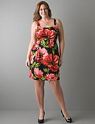 Floral burst tank dress is ready for sunshine days! Play up your gorgeous curves with pleats in all the right places and a flattering empire waist. Wide tank straps let you wear it with your favorite bra. Hidden side zipper with hook & eye closure. lanebryant.com