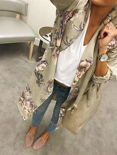 Floral kimono robe and blush slippers