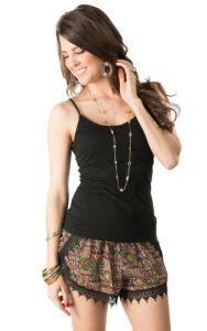 Karlie Women's Black & Multicolor Aztec Print Lace Shorts | Cavender's