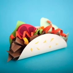Paper craft sculpture of food -- taco, Maria Laura Benavente - What a fun way to show food from our culture!  - paper sculpture - pop art