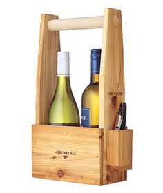 Two-bottle Wine Carrier  This sturdy wooden tote makes a great gift for someone (or yourself). Plus, it comes with a corkscrew.  To buy: $40, meriwetherfieldgear.com.