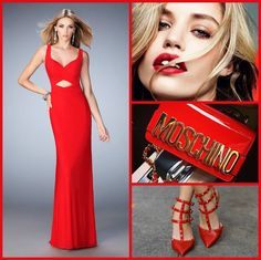 La Femme 22200 long prom dress - red prom dress - homecoming dress - formal dress - pageant dress - net gown - front cutout - lightly gathered bodice - open back - racer back - modest train - style inspiration - makeup inspiration - red lip - red accessories - heels