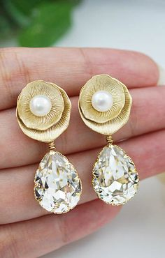 Lotus Ear posts with Swarovski Crystal Bridesmaids Earrings from EarringsNation