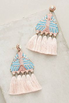 Statement stud earrings, pink and blue earrings, pastel color jewelry, tassel jewelry