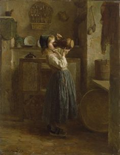 """Helping Herself"" by Pierre-Édouard Frère (1859) at the Walters Art Museum, Baltimore - From the curators' comments: ""A young girl stands in a larder drinking milk directly from a pitcher. Light from a window at the right illuminates the interior, revealing various utensils, including a rack of pewter spoons hanging on the back wall, a shelf of dishes, a cupboard, a wooden dairy bucket, and several strainers. The floor is laid in earthenware hexagonal tiles."""