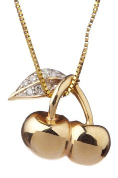 14k yellow gold double cherry and pave diamond leaf pendant necklace.