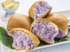 Coconut Taro Rolls w/Coconut Butter coconut taro rolls - a variation of the poi or taro rolls with a hint of coconut milk - simply ono!  You can also try using purple yam.