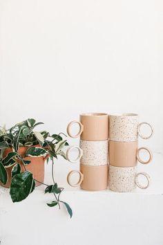 Ceramic Mug Duo – Kristin Made Cocoa Drink, Latte Art, Ceramic Mugs, Planter Pots, Place Card Holders, Ceramics, Cream, Tableware, Crafts