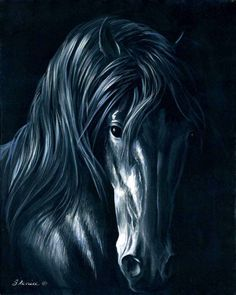 Downloadable Painting Pattern - Night Spirit Horse Painting - Acrylic by artist…