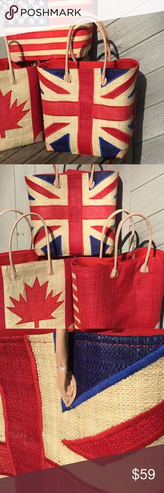 "UK British flag Union Jack Raffia Tote Handbag Gorgeous UK Flag tote - Leather trim handles / base.   Large 13"" H x 16"" L x 8"" D roomy enough to hold your towel & other beach essentials. Drawstring/ Fabric top closure to secure .  Handcrafted on the island of Madagascar. These are original creations not produced in a factory, handmade by skilled locals. Onigo works with a cooperative of artisans who produce these fabulous products. Please allow for any natural imperfections and variations…"