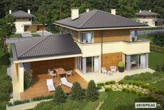 Projekt domu Rodrigo II G2 - Archipelag.pl Roof Styles, House Styles, Design Case, New Builds, Home Fashion, House Plans, Sweet Home, Mansions, Building