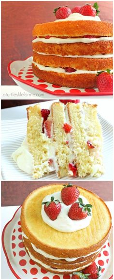 Strawberry Lemon Cream Layer Cake- A Turtle's Life for Me