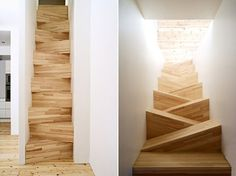 Such a cool stair design!.... Yeah right. This is how I would die. Falling down my stupid wonky stairs.