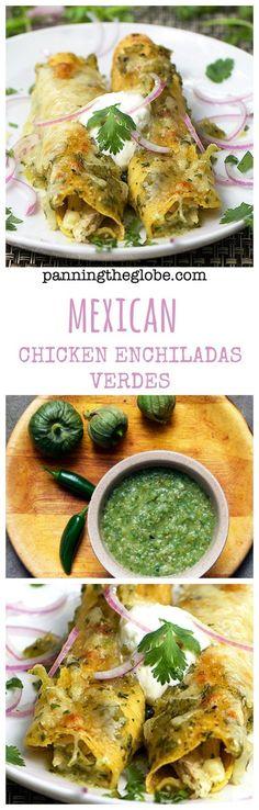Chicken Enchiladas Verdes: tender chicken, tangy roasted tomatillo salsa, melted cheese, corn tortillas.  #GlutenFree #enchiladas