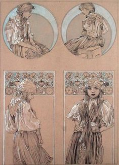 """Mucha, Alphonse Marie -- """"Study for plate 6 from 'Figures Decoratives', 1905 """" -- High quality art prints, canvases, postcards -- Mucha Foundation Prints"""