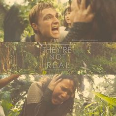 """They're not real, Katniss!! They are not real!!"" - Peeta #catchingfire #clipfromnewtrailer"