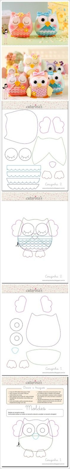 Felt owls, Owl patterns i inne popularne na Pinter. Sewing Toys, Sewing Crafts, Sewing Projects, Felt Projects, Owl Crafts, Cute Crafts, Owl Patterns, Sewing Patterns, Owl Templates