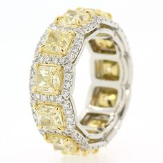 For Sale on - This is an eye popping ring! The band is beautifully hand crafted in white gold and brilliantly set with carats of Fancy Yellow Radiant Cut Diamonds Eternity Ring Diamond, Eternity Bands, Solitaire Diamond, Bridesmaid Jewelry, Wedding Jewelry, Wedding Rings, Wedding Band, Colored Diamonds, Yellow Diamonds