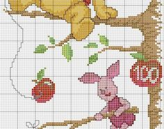 punto croce per i bambinila mia passione Cross Stitch Patterns, Quilt Patterns, Stitch Cartoon, Knitting Charts, Disney Crafts, Crochet Chart, Baby Disney, Cross Stitching, Winnie The Pooh