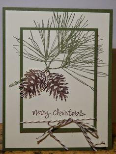 Ornamental Pine from Stampin Up. I love this stamp set for it's versatility. You can use it for the Holidays as well as masculine cards throughout the year. http://thescrappingqueen.blogspot.com/2014/10/ornamental-pine.html