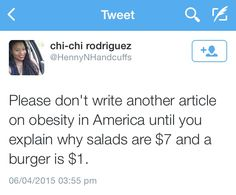 Please don't write another article on obesity in America until you explain why salads are $7 and a burger is $1.  Follow this link to find a short clip and analysis exploring the problematic way obesity is discussed by the media: http://www.thesociologicalcinema.com/videos/the-headless-fatties-and-their-health