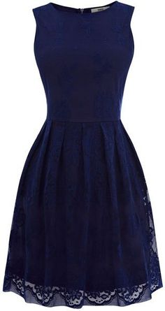 Dark blue lace dress.