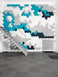 Hexagon Wall Tiles by Träullit Dekor Acoustic Wall, Acoustic Panels, Interior Walls, Interior Design, Wall Design, House Design, Inspiration Design, Boxing Day, Sound Proofing