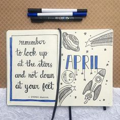 APRIL 2 cover page Only a few days late decided on a space theme for April and a lovely quote from Steven Hawking ♥️ ▫️ ▪️ ▫️ ▪️ April Bullet Journal, Bullet Journal Monthly Spread, Bullet Journal Quotes, Bullet Journal Themes, Bullet Journal Layout, Bullet Journal Inspiration, Bullet Journals, April Quotes, Bullet Art
