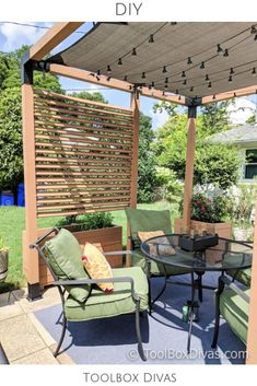pergola plans Must See DIY Patio Makeover with Pergola Learn how turn a delapadated patio into an inviting space with a modern pergola and other inexpensive patio ideas Diy Pergola, Wooden Pergola Kits, Building A Pergola, Pergola With Roof, Diy Patio, Gazebo, Pergola Ideas, Pergola Shade, Pergola Curtains