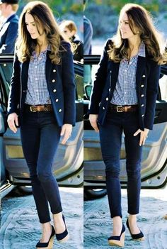 Casual Work Outfits, Office Outfits, Mode Outfits, Work Casual, Casual Chic, Fashion Outfits, Womens Fashion, Navy Blazer Outfits, Outfits Kate