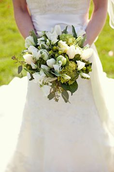 Nathan + Rachel - Brooke Courtney Photography / Brides Bouquet / White and green / Tulip