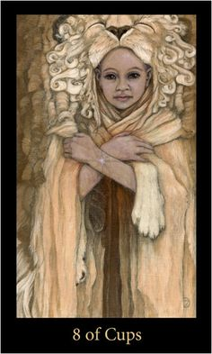 Eight of Cups from the Mary El Tarot. A child wears a lion skin, very different from the Rider Waite Smith version. Let go of bitterness and anger, you will find strength and be able to move forward. Trinidad, Tarot By Cecelia, Oracle Tarot, Cup Art, Tarot Readers, Celestial, Tarot Decks, Tarot Cards, Mystic