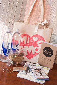 Santa Monica Wedding Welcome Bag with Kraft Paper, Ribbon and Lace. Ivory, Peach, Mint Green.   Events | Harmony Creative Studio  Santa Monica, CA