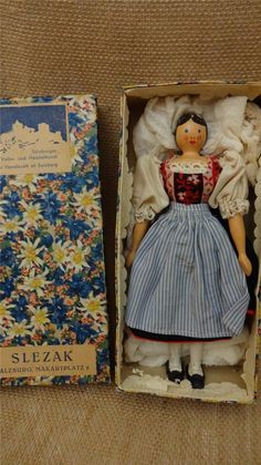 "Vtg 1930s German Wood Wooden Peg Doll 8"" w Orig Box Traditional Peasant Costume 