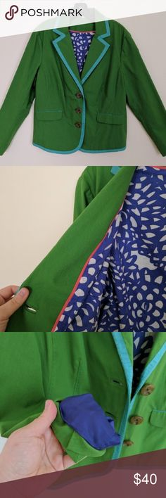 Boden, blazer, green with blue trim, Size 14 EUC Boden blazer, bright green with turquoise ribbon trim. A lovely statement jacket in excellent used condition. Size 14, fabric has some stretch. Boden Jackets & Coats Blazers