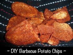 DIY Barbecue Potato Chips to DIE for. No more packaged crap. Or packaging. Just homemade crunchy goodness. These are a great snack that everyone can participate in making (it's more fun that way!) and they'll be devoured. Chip Seasoning, Bbq Seasoning, Popcorn Seasoning, Homemade Chips, Homemade Bbq, Whole Food Recipes, Snack Recipes, Cooking Recipes, Potato Recipes