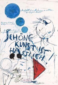 Günther Brus - Schöne Kunst ist hässlich, 2000, GALLERIA MARIE-LAURE FLEISCH | Vienna Graf, Jean Michel Basquiat, Research Methods, Vienna, Body Art, Art Drawings, Sketches, Stripes, Collages