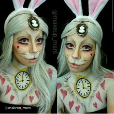 bunny makeup Videos Animal Testing is part of Stop Testing Makeup On Animals Because They Keep Seducing My - White rabbit makeup Halloween Alice In Wonderland, Alice In Wonderland Makeup, White Rabbit Alice In Wonderland, White Rabbit Makeup, Bunny Makeup, Kids Makeup, Halloween Inspo, Halloween Cosplay, Artistic Make Up
