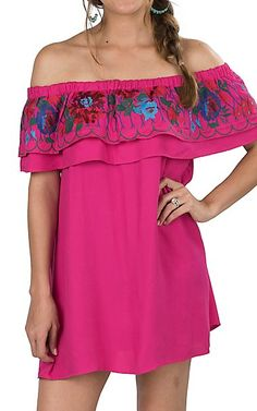 Umgee Women's Fuchsia Pink with Floral Embroidered Ruffle Sleeveless Off the Shoulder Dress | Cavender's