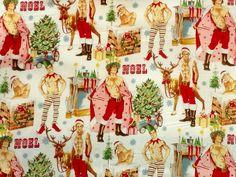 sexy Santa Claus pin up Christmas fabric Alexander Henry 2 Christmas Fabric, Christmas Elf, White Christmas, Miniature Christmas, Christmas Costumes, Christmas Images, Holiday, Print Wallpaper, Fabric Wallpaper