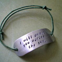 i will await you across the sea -  hand stamped mass effect thane inspired adjustable cord bracelet
