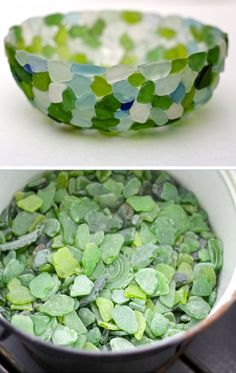 DIY Sea Glass Bowl | Click Pic for 30 DIY Home Decor Ideas on a Budget | DIY Home Decorating on a Budget