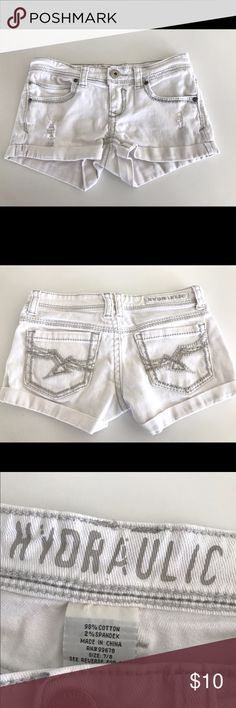 White jean shorts Super cute white jean shorts great for summer! Hydraulic Shorts Jean Shorts