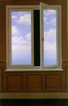 """The Telescope"" 1963 René Magritte. Oil on canvas; 176.1 cm × 114.9 cm (69 5⁄16 in × 45 1⁄4 in.) Menil Collection, Houston."