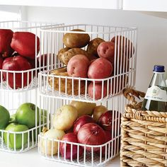 You'll wonder how your kitchen ever lived without our Scala Stacking Basket. Its design makes it a breeze to stack, secure and maximize space, and its clean lines look beautiful no matter where it's placed. The basket's open-front makes it easy to grab and go with whatever you need.
