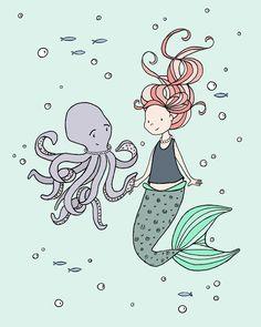 SET OF 3 - Mermaids and Ocean Buddies - Mermaid Nursery Art