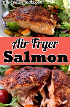 Air Fryer Salmon - the best and easiest way to make salmon. Ready to eat in just 7 minutes! fryer recipes healthy fish Air Fryer Salmon Recipe - Ready To Eat In 7 Minutes- Make Your Meals Air Fryer Dinner Recipes, Air Fryer Oven Recipes, Air Fryer Recipes Salmon, Air Fryer Recipes Potatoes, Air Fryer Recipes Vegetables, Recipes Dinner, Air Frier Recipes, Food F, Vegan Food