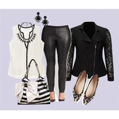 a great plus size outfit with a all black and white. leggings, black lace biker jacket, blouse, stripe bag, statement necklace, leopard ballet flats.